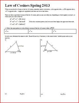 Geometry: Law of Cosines Spring 2013 (Editable)