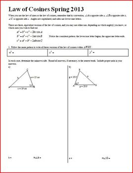Geometry: Law of Cosines Spring 2013 (Editable)