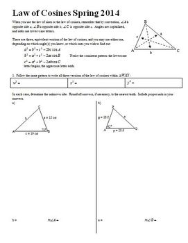 Geometry: Law of Cosines Spring 2014 with Answer Key (Editable)
