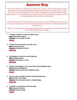 Geometry: Law of Detachment Printable Practice Worksheet w/ Key