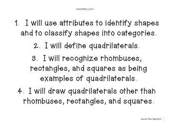 Geometry Learning Goals and Essential Questions