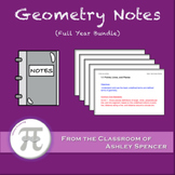Geometry Lecture Notes and Notebooks - Full Year Bundle