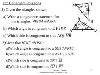 Geometry Lesson 11: Congruent Polygons, SAS Postulate