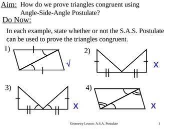 Geometry Lesson 12: ASA Postulate