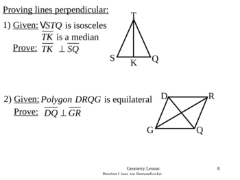 Geometry Lesson 19: Proving Lines Perpendicular