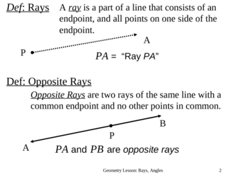 Geometry Lesson 2:  Rays and Angles
