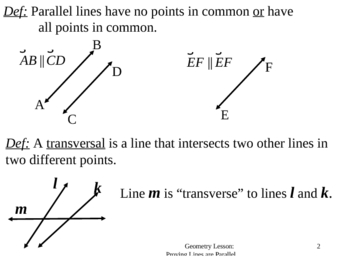 Geometry Lesson 20: Proving Lines Parallel