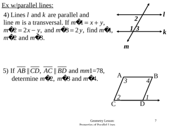 Geometry Lesson 21: Properites of Parallel Lines
