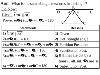 Geometry Lesson 22: Sum of Angle Measures in a Triangle