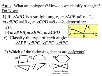 Geometry Lesson 3: Triangles and Polygons