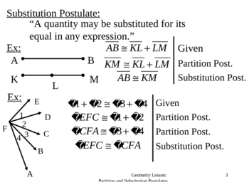 Geometry Lesson 5: Substitution and Partition Postulates