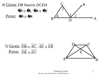 Geometry Lesson 8: Proofs with Definitions and Postulates