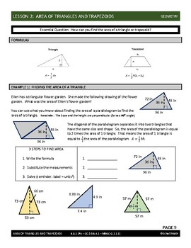 Geometry Lesson: Area of Triangles and Trapezoids