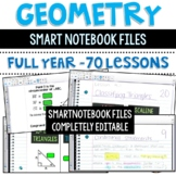 Geometry Lessons - Entire Year - On Smart Notebook - Completely Editable