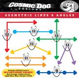 Geometry Lines & Angles Fun Math Cartoon Clip Art Set