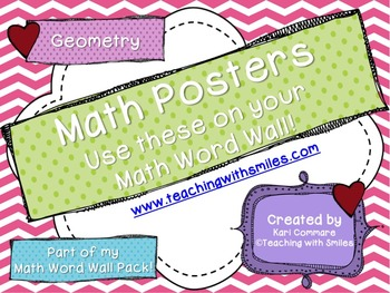 Geometry: Lines, Angles, Rotation, Congruent and Similar Math Word Wall Posters