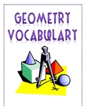 Geometry, Lines, Angles Vocabulary for Math Journals and Study Guide
