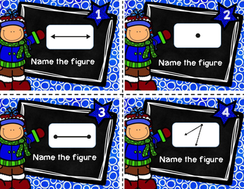 Geometry - Lines, Rays, Points, and Angles Task Cards (Winter Edition)