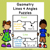 4th Grade Geometry Game Puzzles for Lines and Angles Geometry Vocabulary 4.G.1
