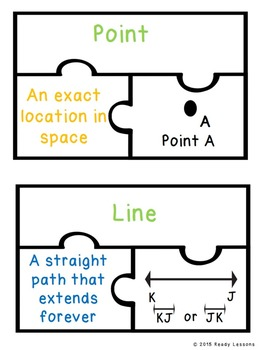 4th Grade Geometry Game Puzzles for Lines and Angles Geometric Vocabulary 4.G.1