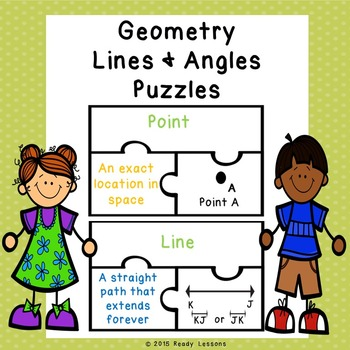 4th Grade Geometry Vocabulary Lines and Angles Puzzles 4.G.1