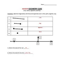 Geometry Lines and Angles Quizzes