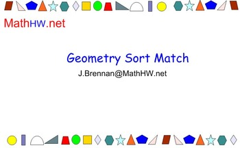 Geometry, Lines and Angles Sort Match