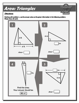 Geometry Link: Area of Polygons and Circles Worksheet Bundle