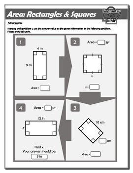 Geometry Link: Area of Rectangles and Squares Worksheet
