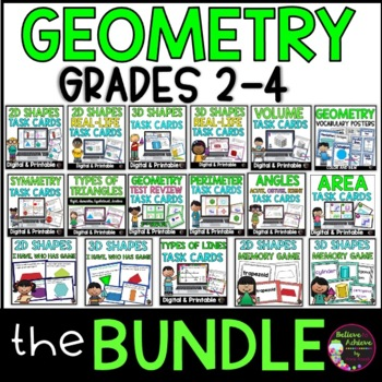 Geometry  BUNDLE: 12 task card sets, Posters, Memory and I Have, Who Has Games