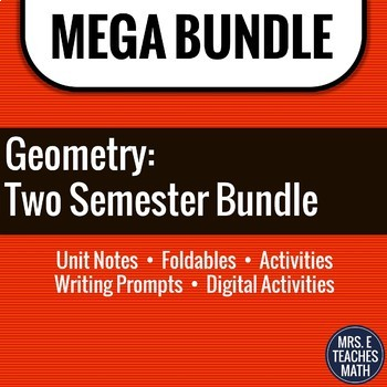 Geometry MEGA BUNDLE - Notes, Activities, and Foldables