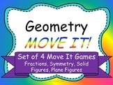 Geometry MOVE IT! Set of 4 Games - Symmetry, Fractions, Plane and Solid Figures