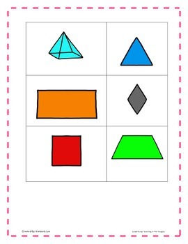 Geometry Matching Game-1st Grade