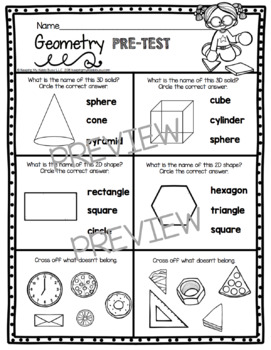 Geometry Math Assessment - Kindergarten Shapes and 3D Solids Pre - Post Tests