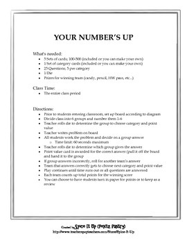 Geometry Math Game- Your Number's Up