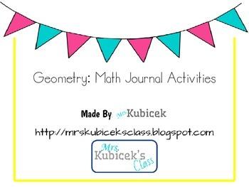 Geometry Math Journal Activities