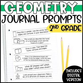 Geometry Math Journal Prompts - 2nd Grade