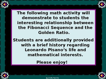 Geometry Math Lab:  Fibonacci Sequence and its Relationship to the Golden Ratio