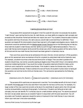 Geometry Math Literacy Pre-Assessment