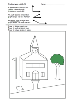 Geometry Math Picture Worksheets (Set of 2) Angles and Transformations