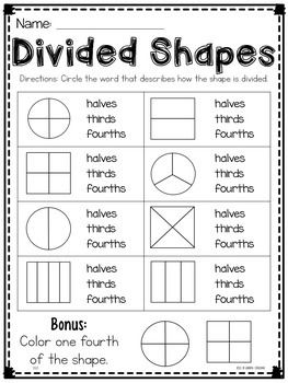 Geometry Math Printables for Second Grade