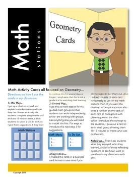 Geometry Math Station Activity Cards