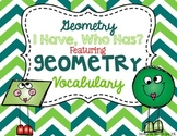 "Geometry Math Vocabulary ""I Have, Who Has?"" Review Game"