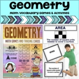 Geometry Math Vocabulary Cards, Math Games and, Easel Digi