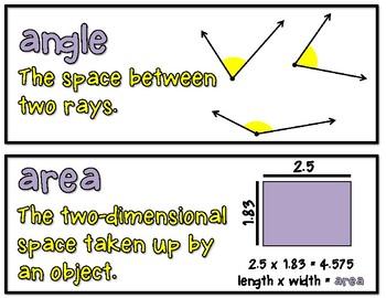 Geometry Math Word Wall: Grades 4 - 6
