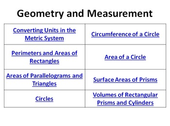 Geometry Measurement Bell Ringers Perimeter Area Circumference Surface Volume