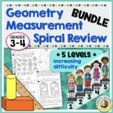 4th Grade Math Review | Geometry Measurement Worksheets Review BUNDLE