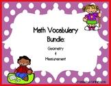 Geometry & Measurement Vocabulary Bundle 3rd Grade