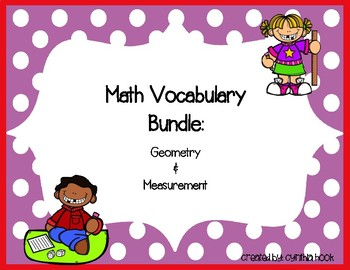 Geometry & Measurement Vocabulary Bundle 3rd Grade