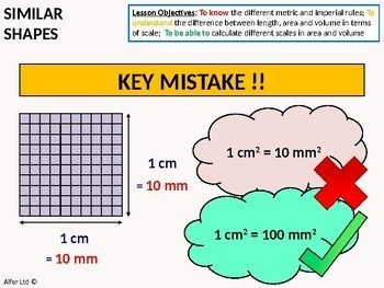Geometry: Measures 5 - Conversion between length, area and volume (scales)